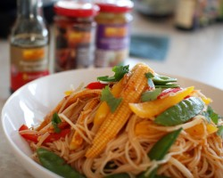 Stir-fried Kung Pao Veggie Rice Noodles